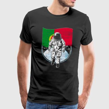 Portugal flag in space Astronaut moon - Men's Premium T-Shirt