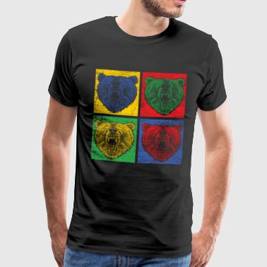 Bear Pop Art Zoo Animal Park Predator Farverig Skov - Herre premium T-shirt