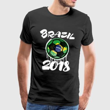 Brazil 2018 Soccer National Team Fan Ball Gift - Men's Premium T-Shirt