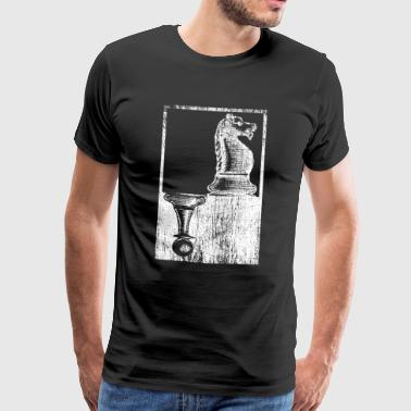 white horse and black pawn chess figures - Men's Premium T-Shirt