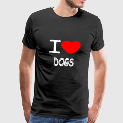 I LOVE DOGS - Mannen Premium T-shirt