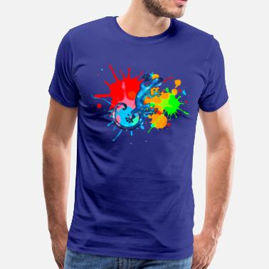 Paint Splatter Space Gecko, Lizard, Color, Splash, Festival - Mannen Premium T-shirt
