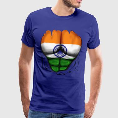 India Flag Ripped Muscles, six pack, chest t-shirt - Men's Premium T-Shirt