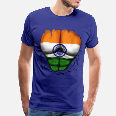 Indian India Flag Ripped Muscles, six pack, chest t-shirt - Men's Premium T-Shirt