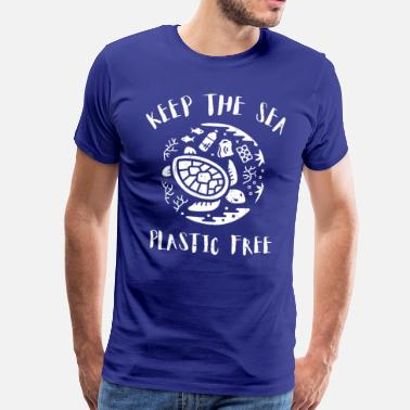 Straw Please Keep the Sea Plastic Free Turtle Scene - Men's Premium T-Shirt
