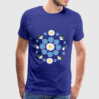 Flowers blue white white - Herre premium T-shirt