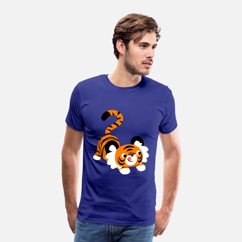 Pounce T-Shirts - Cute Cartoon Tiger Ready To Pounce!! by Cheerful Madness!! - Men's Premium T-Shirt royal blue