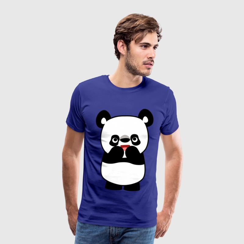 Shy Cute Cartoon Panda by Cheerful Madness!! - Miesten premium t-paita
