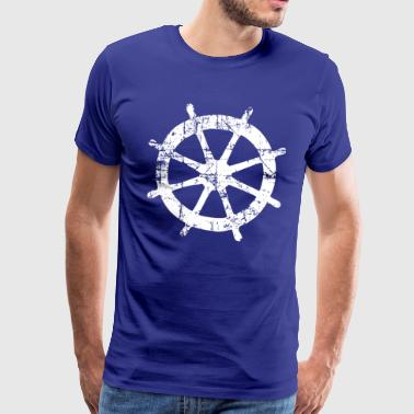 Steering Wheel Vintage White Sailing Design (EU) - Men's Premium T-Shirt