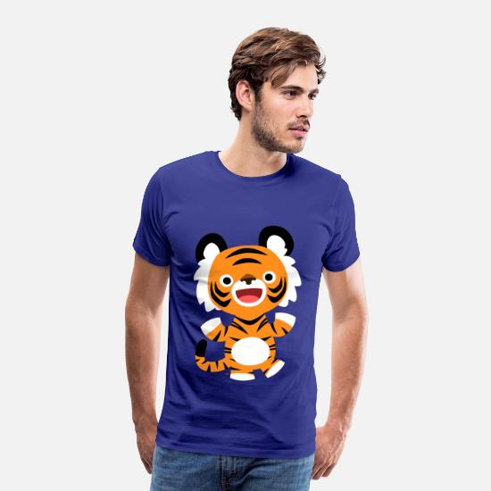 2010 T-Shirts - Cute Merry Cartoon Tiger by Cheerful Madness!! - Men's Premium T-Shirt royal blue
