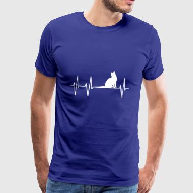 Cat Cats Heartbeat Heart Pulse Palpitations Cat - Men's Premium T-Shirt