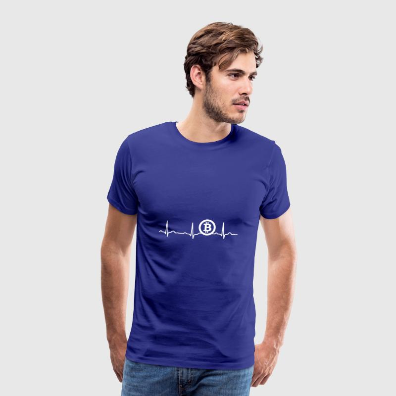 ECG HEARTBEAT BITCOIN BTC - Crypto White - Men's Premium T-Shirt