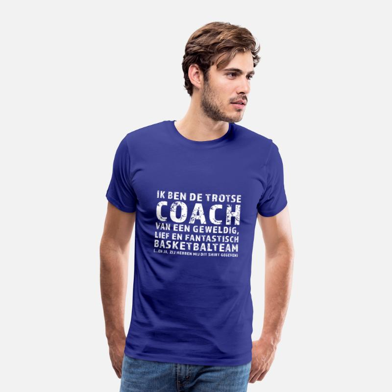 Basketbalteam T-Shirts - Trotse Coach Basketbalteam - Mannen premium T-shirt koningsblauw