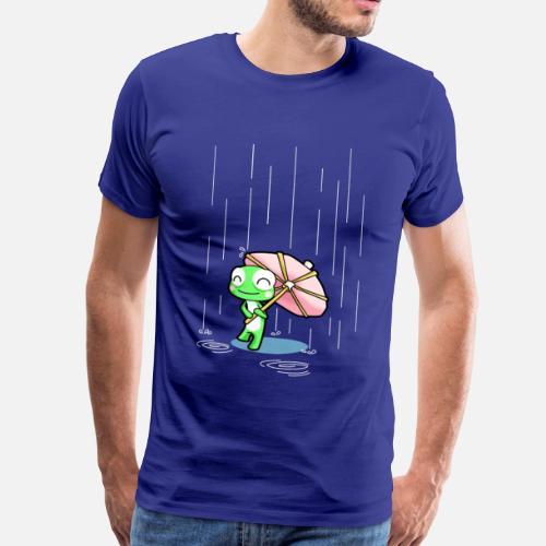 Grenouille Heureux Avec Une Partie Parapluie Rose Sous La Pluie De
