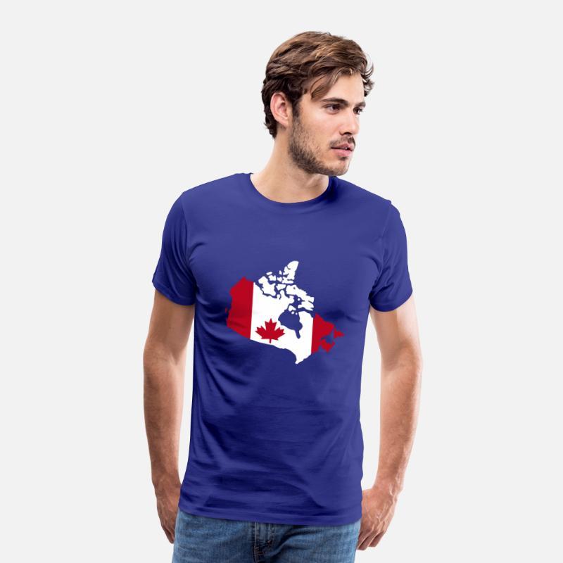 Canada T-Shirts - Canada flag map - Men's Premium T-Shirt royal blue