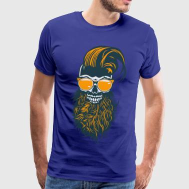 head of death hipster skull bearded beard hairstyle fa - Men's Premium T-Shirt