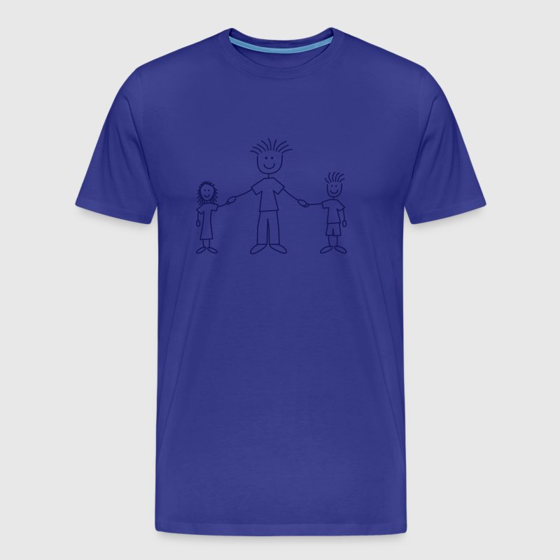 family_dad_with_girl_and_boy_1c - Herre premium T-shirt