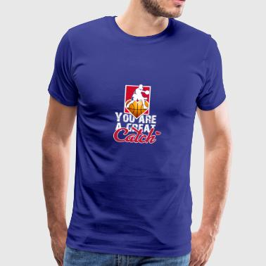 Basketball Valentine Big fangst gave - Premium T-skjorte for menn