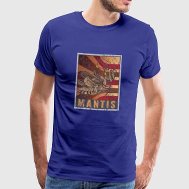 Lijst Retro Praying Mantis Poster Distressed Look - Mannen Premium T-shirt