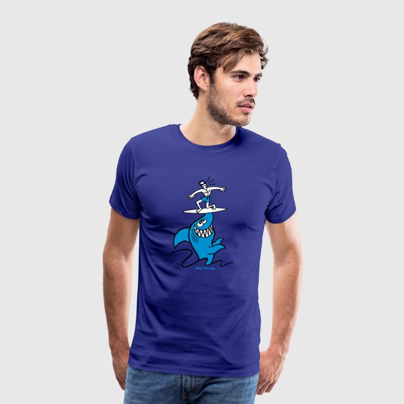 Shark Powered Surfing - T-shirt Premium Homme