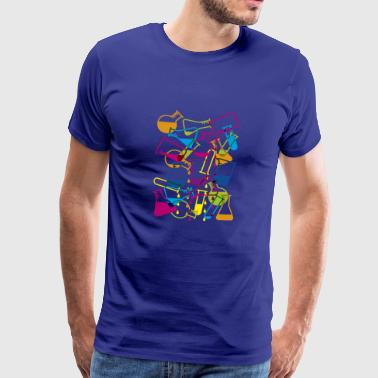 Laboratory Glassware with Dripping Chemicals - Men's Premium T-Shirt
