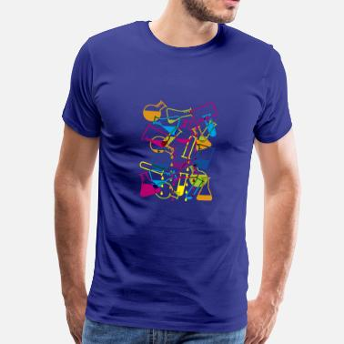 Biotechnology Laboratory Glassware with Dripping Chemicals - Men's Premium T-Shirt
