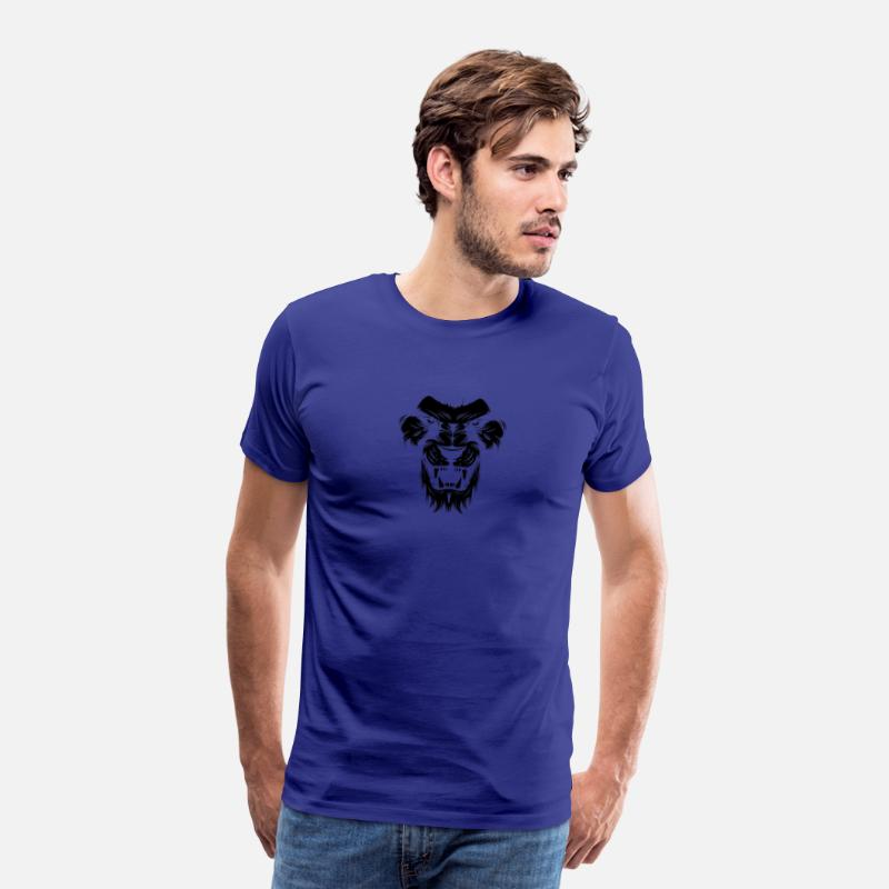 Lion Head T-Shirts - Lion Shadow Design - Lion head black - Men's Premium T-Shirt royal blue
