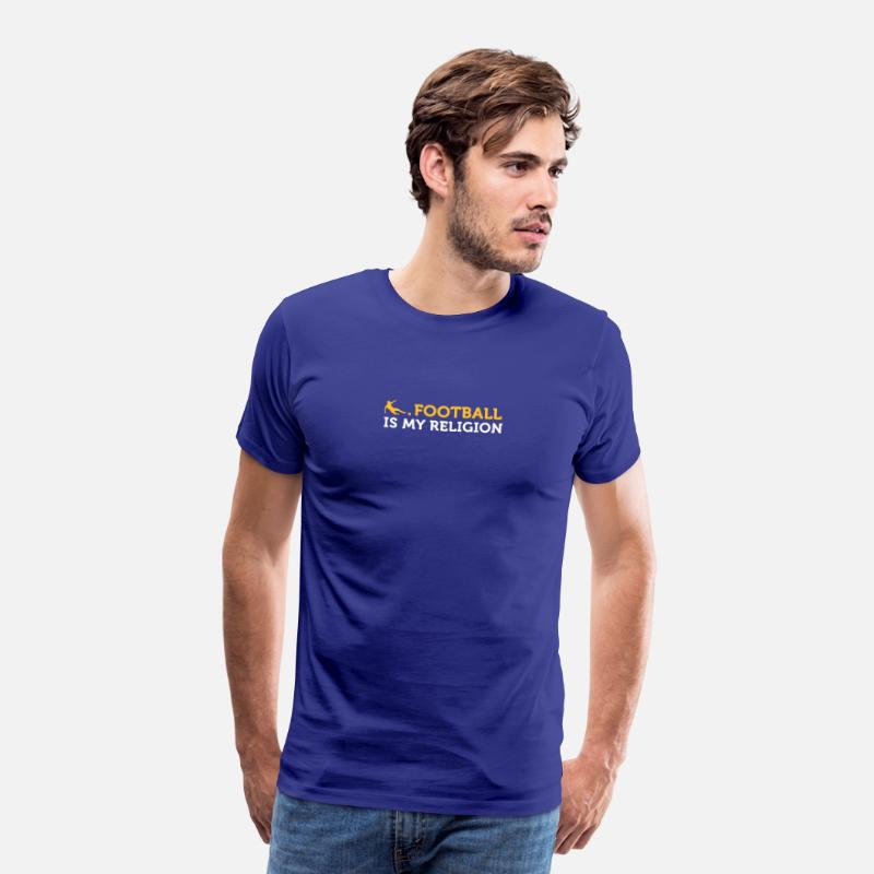 Voetbal T-Shirts - Voetbal Quotes: Voetbal is Mijn Religie - Mannen premium T-shirt koningsblauw
