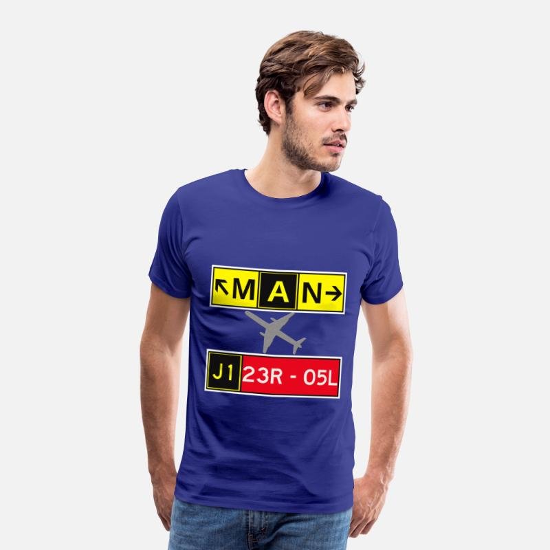 Manchester T-Shirts - MAN Manchester Airport Taxiway & Runway Sign - Men's Premium T-Shirt royal blue