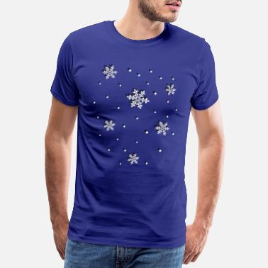 3d Effect Snowflakes, winter, ice and snow. - Men's Premium T-Shirt