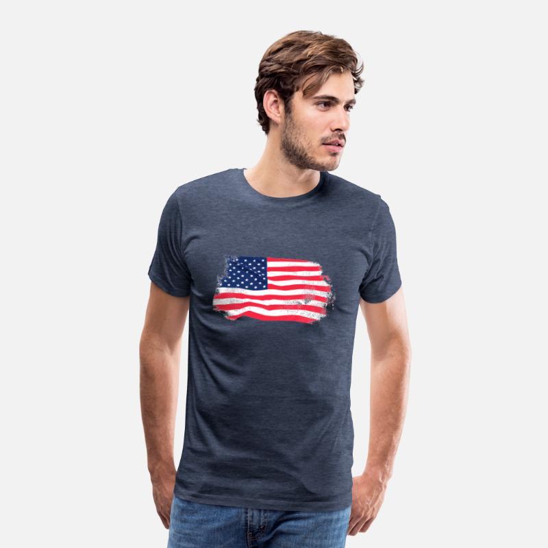 USA Flag Vintage Look Premium T shirt herr ljungblå