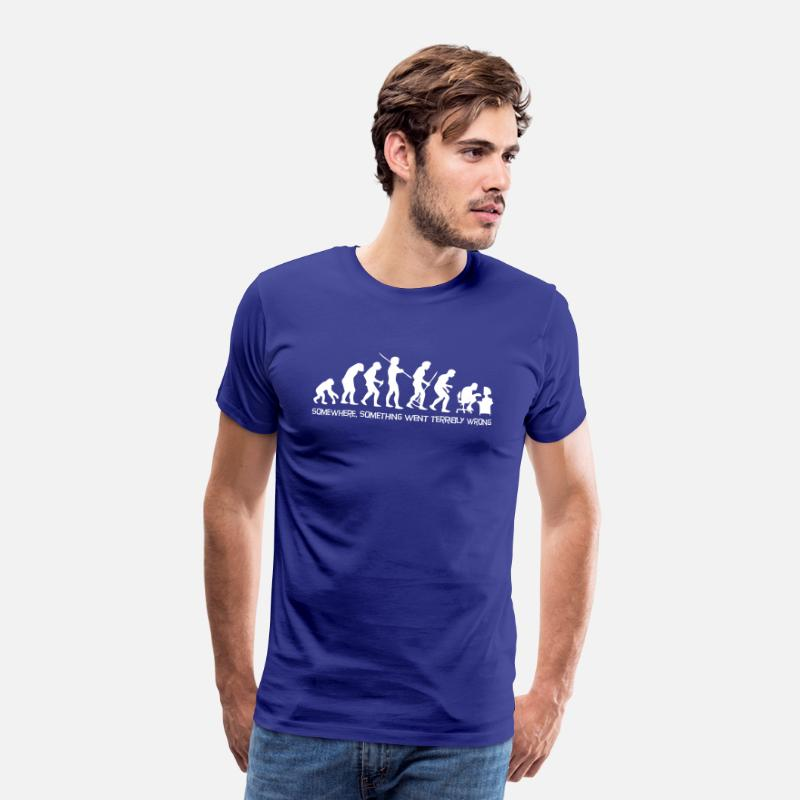 First T-Shirts - Darwin's Human Evolution From Ape To Digital Man. - Men's Premium T-Shirt royal blue