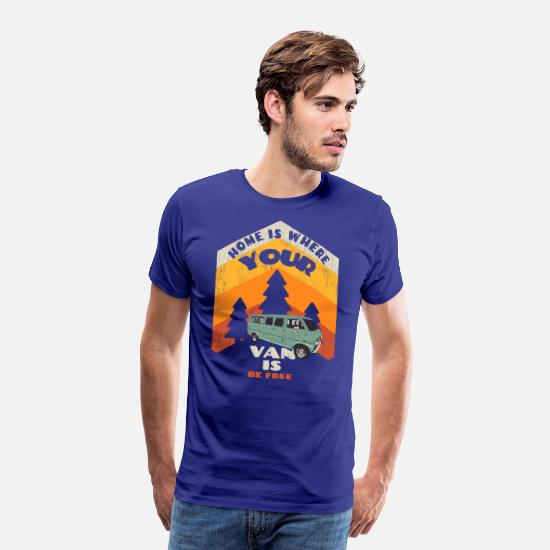 Camping T-shirts - Home is where your van is - T-shirt premium Homme bleu roi