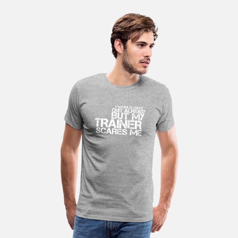 Training Fitness Sprüche Sport Lustige Sprüche Männer Premium T Shirt Grau Meliert