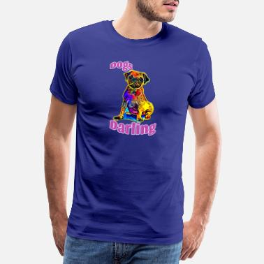 Cyan Pug with bright color in purple - Men's Premium T-Shirt