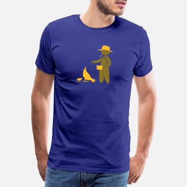Country Farmer feeding the chickens - Men's Premium T-Shirt