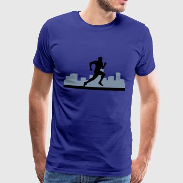 man running, run, city run - Men's Premium T-Shirt