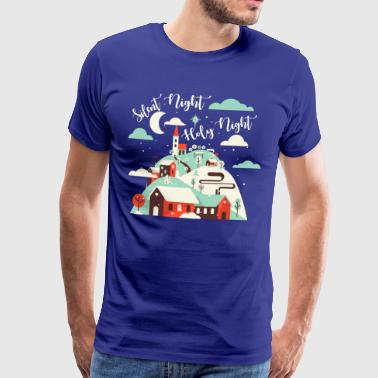 Stilla natt heliga natt. Winter Village.Christian. - Premium-T-shirt herr