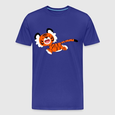 Cute Running Cartoon Tiger by Cheerful Madness!! - Men's Premium T-Shirt