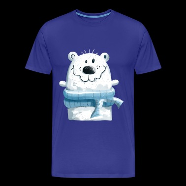 Cute polar bear with winter scarf - bear - teddy - Men's Premium T-Shirt