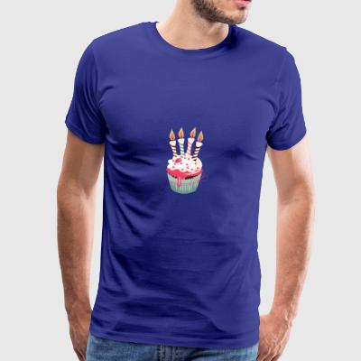 Cupcake with four candles - Men's Premium T-Shirt