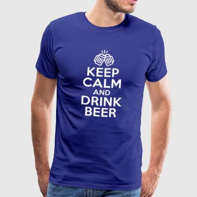 Drink beer + saying Keep calm and drink beer - Men's Premium T-Shirt