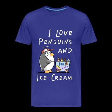 I Love Penguins And Ice Cream - Penguin Ice Cream Strip - Mannen Premium T-shirt