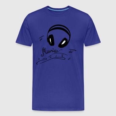 Retro microphone with headphones and music notes. - Men's Premium T-Shirt