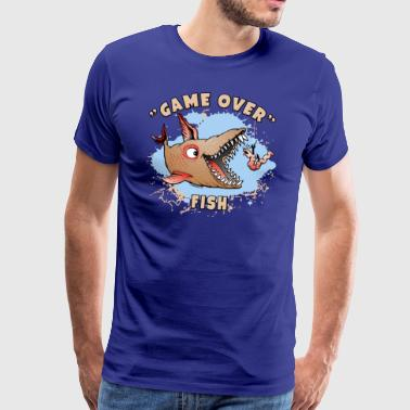 10-37 GAME OVER FISH - The game is played with fish - Men's Premium T-Shirt
