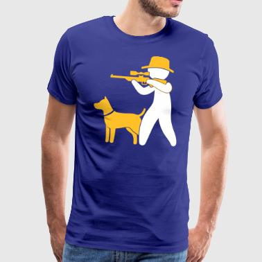 A Hunter With Dog In The Forest - Men's Premium T-Shirt