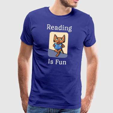 Reading Is Fun Cat - Premium T-skjorte for menn