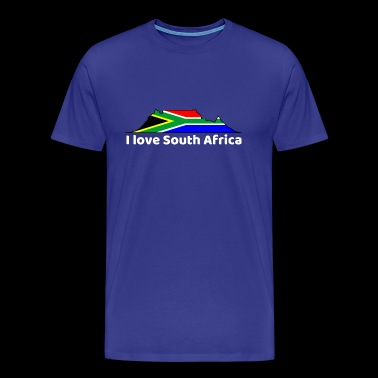 Flag on Table Mountain (white font) - Men's Premium T-Shirt