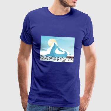 Winter, mountains, house, firs, romantic gift - Men's Premium T-Shirt