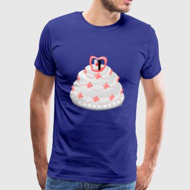 Wedding cake with newlyweds and flowers - Men's Premium T-Shirt